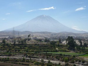 at the foot of the volcano misti arequipa peru