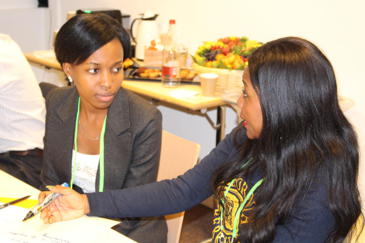 Daphne Nansambu, from Uganda, being interviewed by her mentor Peace Sasha Musonge. Photo credit: Peace Sasha Musonge