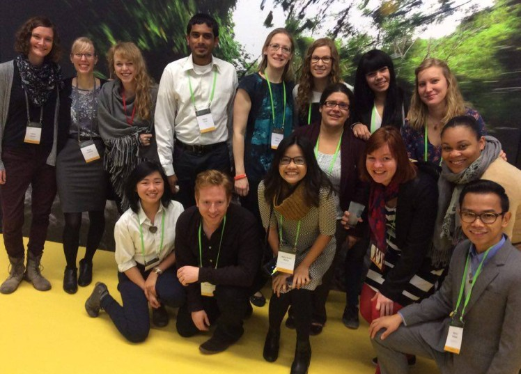 Some of the 2015 Social Reporters at the Global Landscapes Forum Selfie Wall. Photo: Laura Deal/GLF